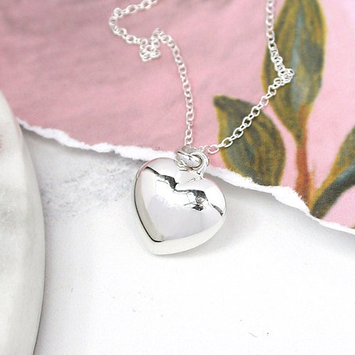 Sterling Silver Rounded Heart Pendant on a Silver Chain
