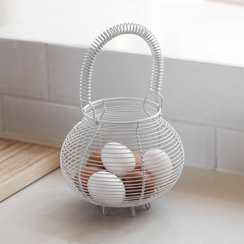 White Wire Egg Basket