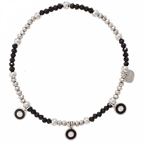 Keira White Gold Plated Clear and Black Crystal Elasticated Bracelet