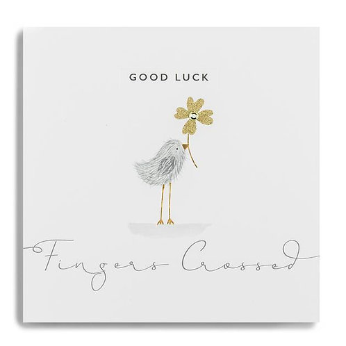 Good Luck Fingers Crossed Bird with a Five Leaf Clover