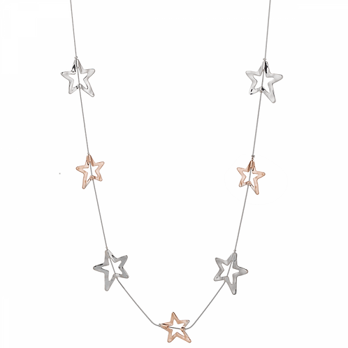 Eternal Silver Rose Gold Metal Star and Contemporary Long Necklace