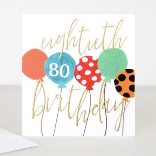 80 Balloons 80th Birthday Card