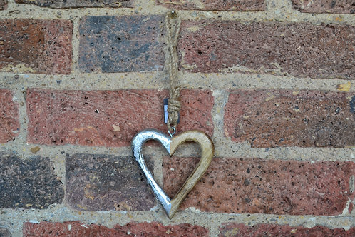 Wood/Silver Hanging Heart
