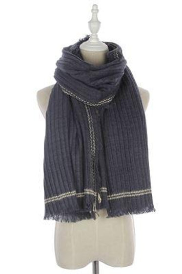 Stitched Edge Frayed Scarf Navy Blue