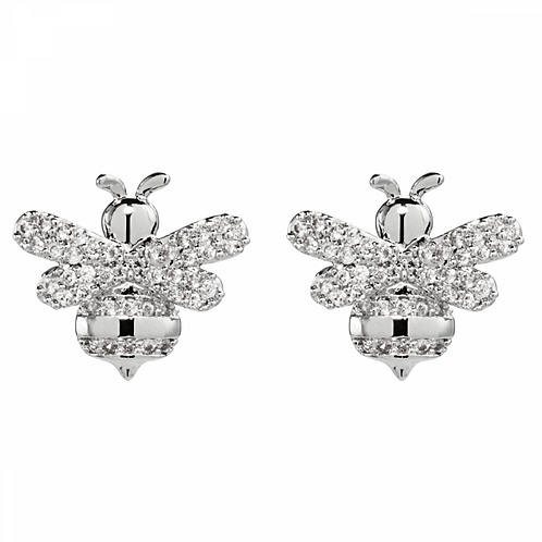 Keira White Gold Plated and Cubic Zirconia Bee Stud Earrings
