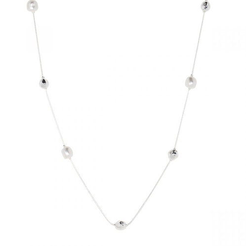 Coco Silver and Fresh Water Pearls Long Necklace