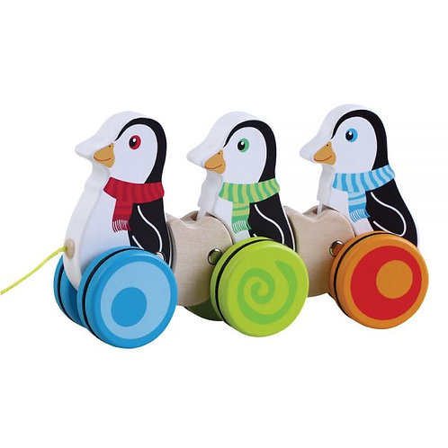 Wooden Toy Pull Along Penguins