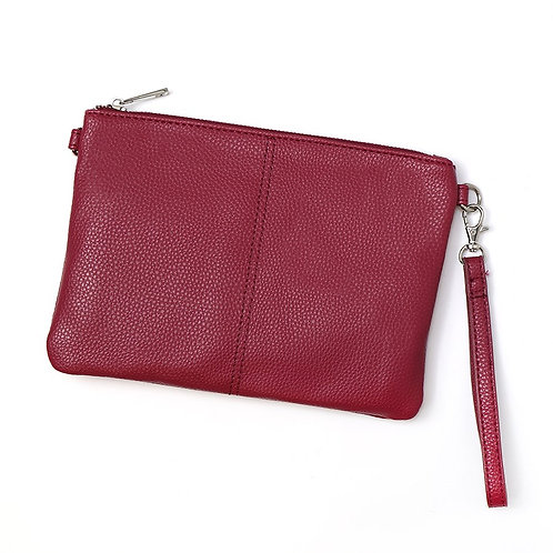 Vegan Leather Convertible Clutch Bag in Red