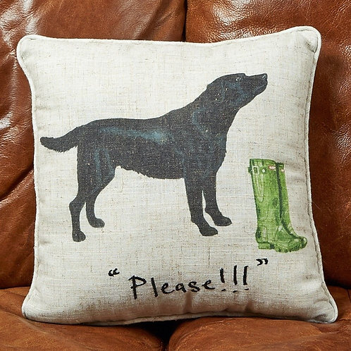 """Please"" Black Lab Linen Cushion"