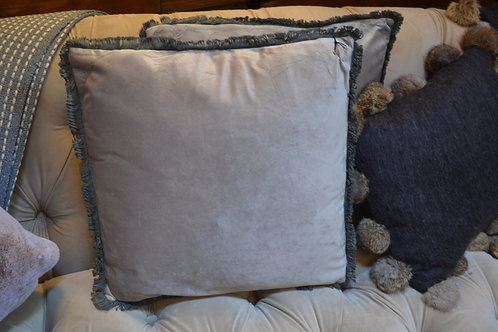 Dove Grey Velvet Tassle Cushion