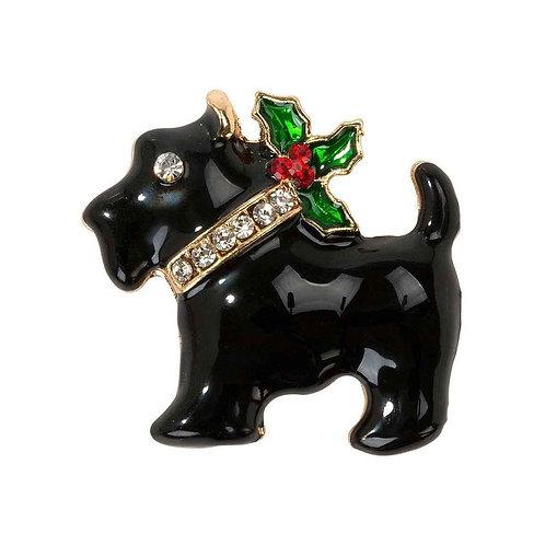 Christmas Entertainment Scottie Dog Enamel Badge