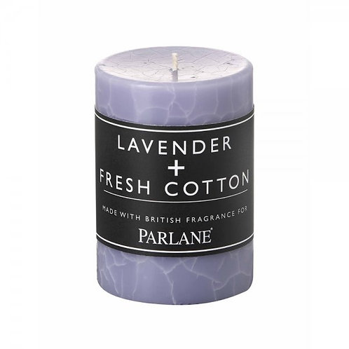 Lavender and Fresh Cotton Pillar Candle