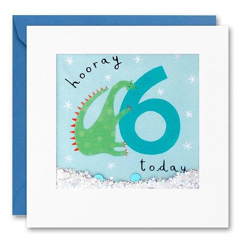 6 Dinosaur Glitter Shakies Birthday Card