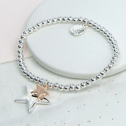 Double star charm bracelet in silver and rose gold