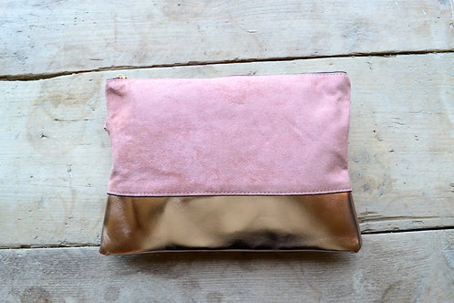 Dusty Pink/Rose Gold Convertible Colour Block Clutch Bag