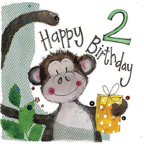 2 Year Old Monkey 2nd Birthday Card