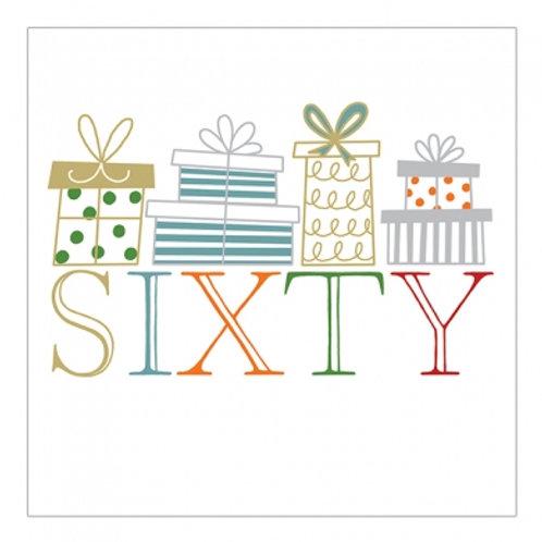 60 Sixty Presents Birthday Card