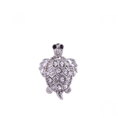 Cora Silver and Clear Crystal Turtle Pin Brooch