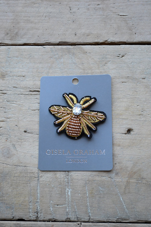 Jewelled Brooch 6cm - Winged Bee Gold