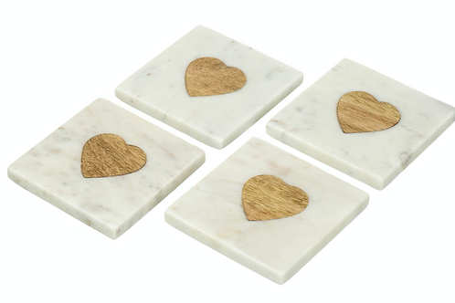 White/Natural Marble Heart Coaster