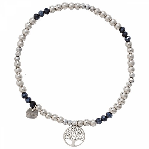 Keira White Gold Plated and Midnight Blue Crystal Tree of Life Elasticated Brace