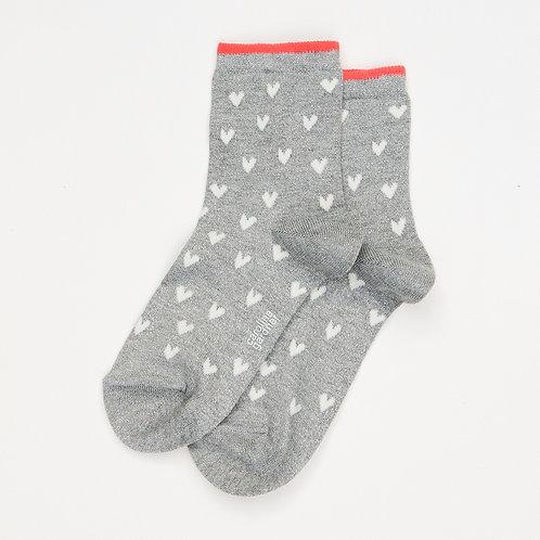 Grey Marl Metallic Heart Socks