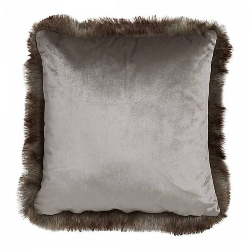 Silver Velvet Faux Tassle Cushion