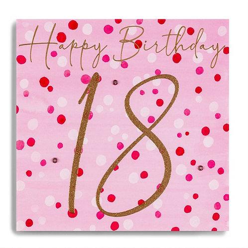 18 Birthday - Gold 18 On Pink Spots