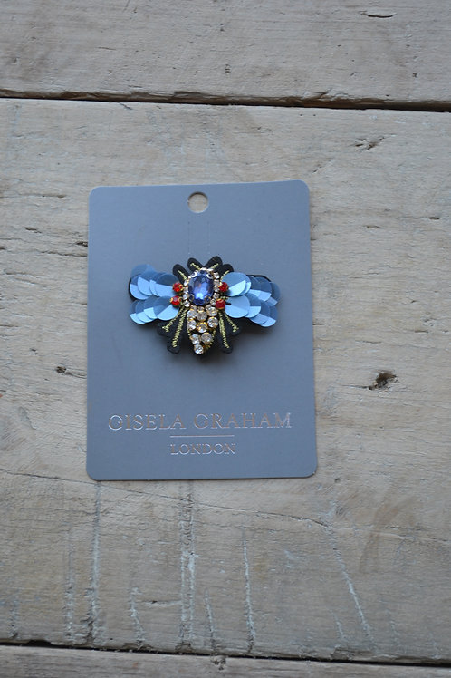 Jewelled Brooch 6cm - Winged Bee/Blue