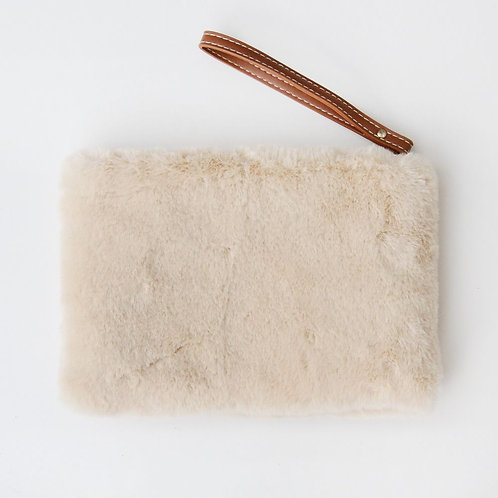 Natural Faux Fur Clutch