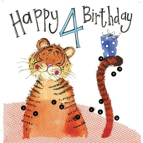 4 Year Old Tiger 4th Birthday Card