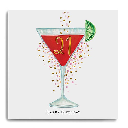 21 Ooh La La Happy Birthday 21 - Cocktail Glass