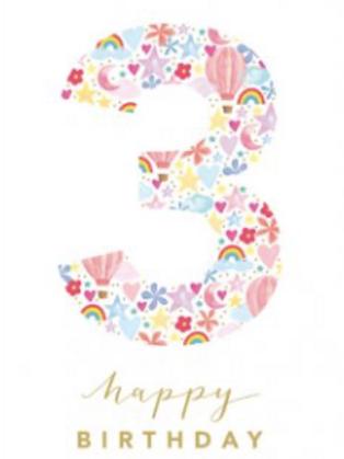 3 three today Birthday Card