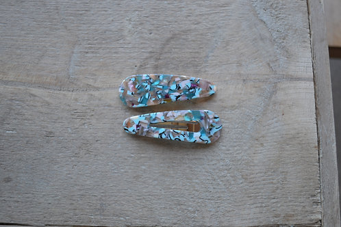 Blue Marbled Tortoiseshell Hairclips