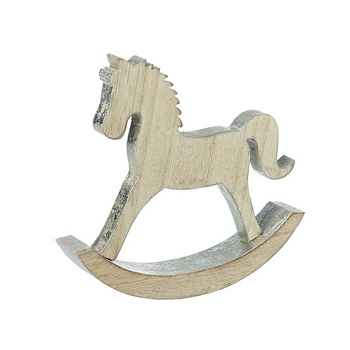 Wooden Rocking Horse With Silver Edge