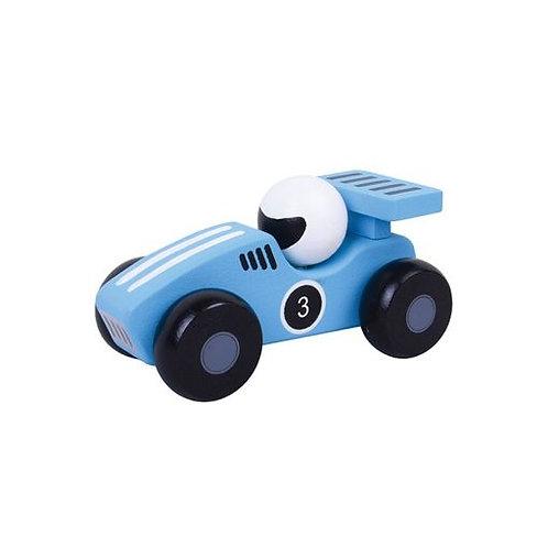 Blue Wooden Racing Car