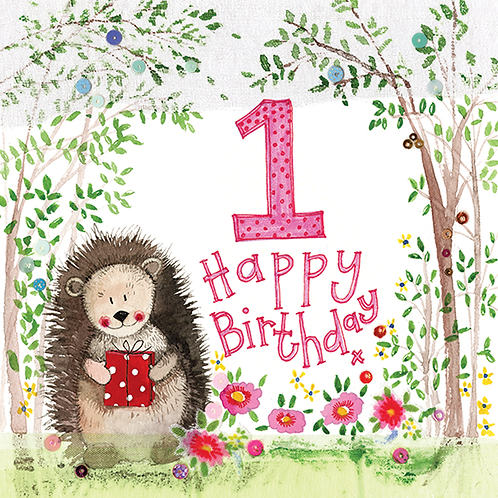 1 year Old Woodland 1st Birthday Large Sparkle Card