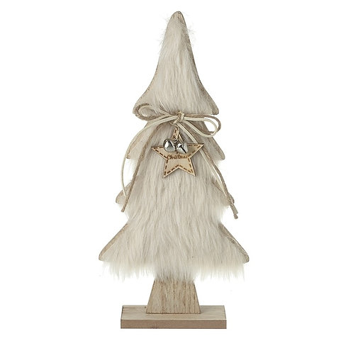 Wooden Tree With Fur & Star