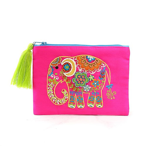 Pink Purse with Embellished Elephant and Tassel Zip