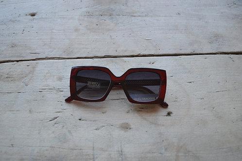 Eliza Gracious Clear Red Square Statement Sunglasses