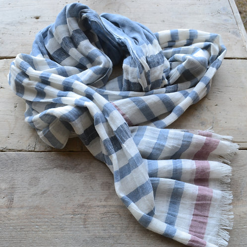 Dusty Blue and Pink Lightweight Scarf