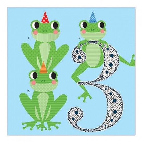3 Frogs. Blue