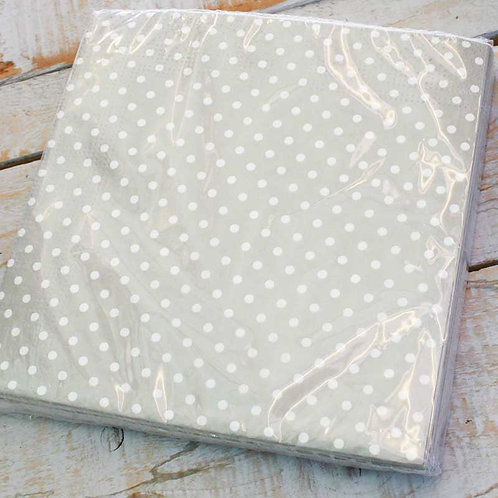 Grey Mini Polka Dot Napkins Pack of 20
