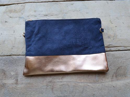 Navy/Rose Gold Convertible Colour Block Clutch Bag