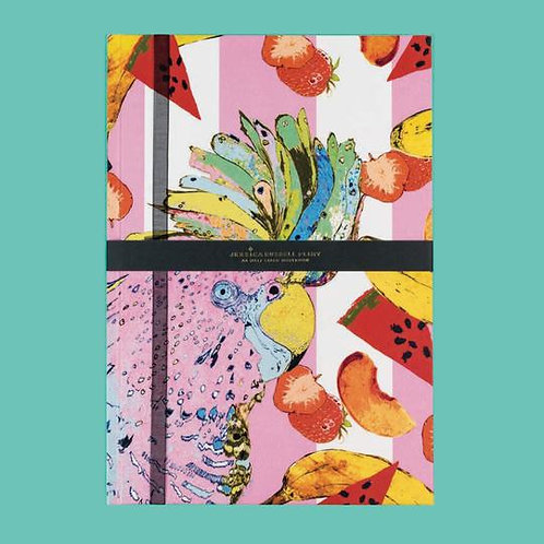 Jessica Russel Flint A5 Half Lined Hardback Notepad 'The Punky Parrot'