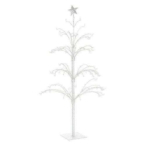Medium White Glitter Metal Tree