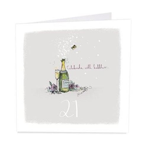 21 Bubbles at 21 Birthday Card