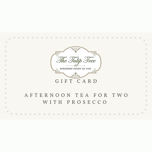 The Tulip Tree Gift Card Afternoon Tea for Two with Prosecco