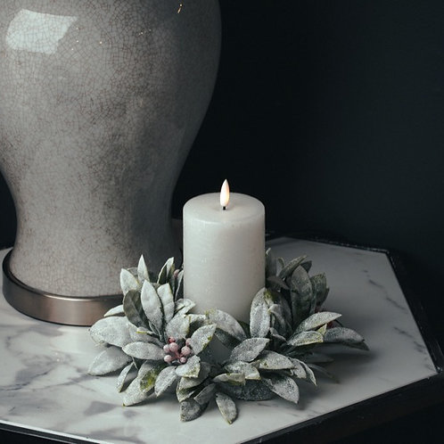 Large Frosted Candle Wreath