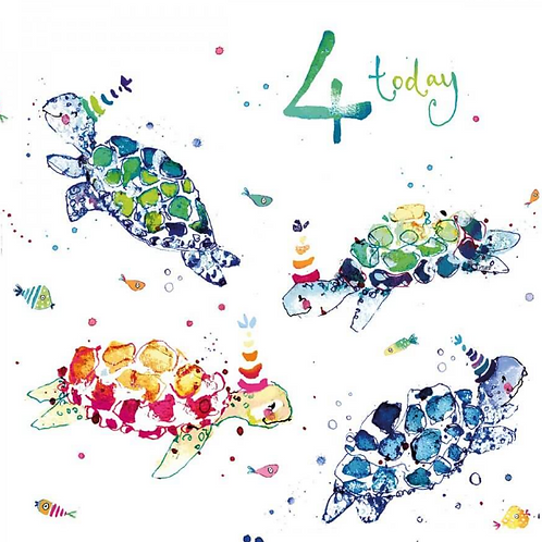 4 Today Turtle Birthday Card